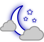 pjamm cycling partly-cloudy-night weather icon